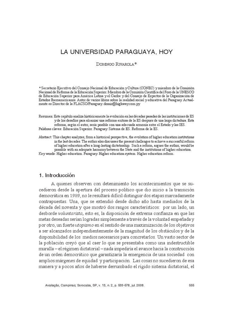 La Universidad Paraguaya Hoy- Rivarola D.