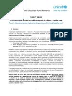 Policy Brief 1 -- Abandonul Scolar Si Parasirea Timpurie a Scolii in Randul Copiilor Roma