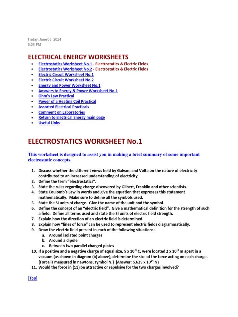 Electrostatics Worksheet Karibunicollies – Electrostatics Worksheet