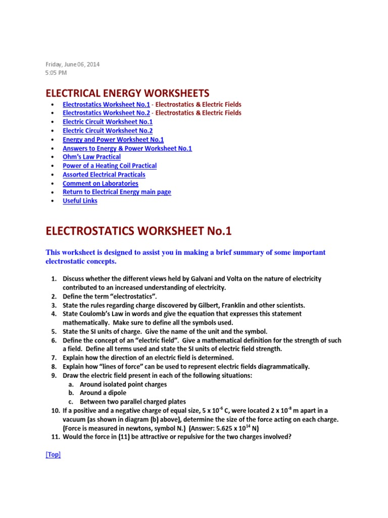 Electrical Energy And Power Worksheet Livinghealthybulletin