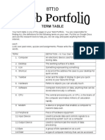 term table for portfolio