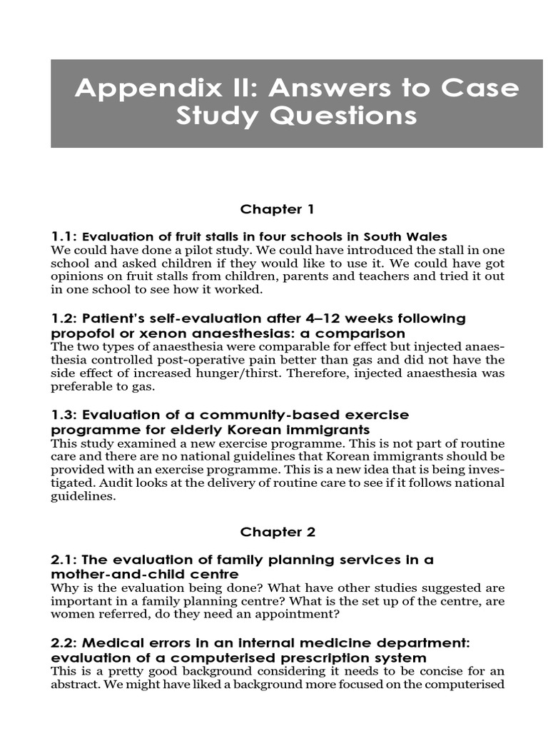Small-scale evaluation in health  Cap 13 Appendix 2  Answers