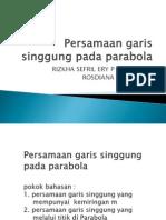 Persamaan Garis Singgung Pada Parabola