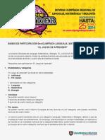 Bases de Participación 9va Olimpíada Lenguaje, Matemática y Biología - 2014 - Temuco