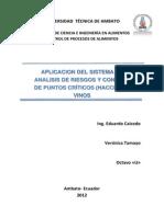 Plan HACCP Para Vinos (Verónica Tamayo)