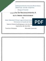 Arellano Diploma de Reconocimiento a Escuela Oficial Urbana Mixta Rafael Cajas Jornada Vespertina Bran