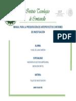 Manual Para La Presentación de Anteproyectos e Informes