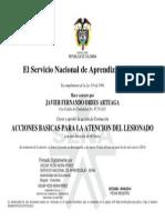 Certificado Sena- Acciones Basicas Para La Atencion de Lesionado