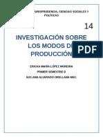 Investigación Sobre Los Modos de Producción