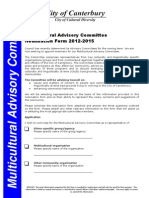 Multicultural Advisory Committee Nomination Form