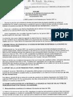 Note Commune n 10-2001 Retenu a La Source Du Vacation