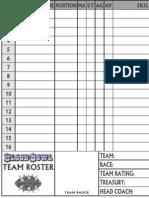 Blood Bowl Team Sheet