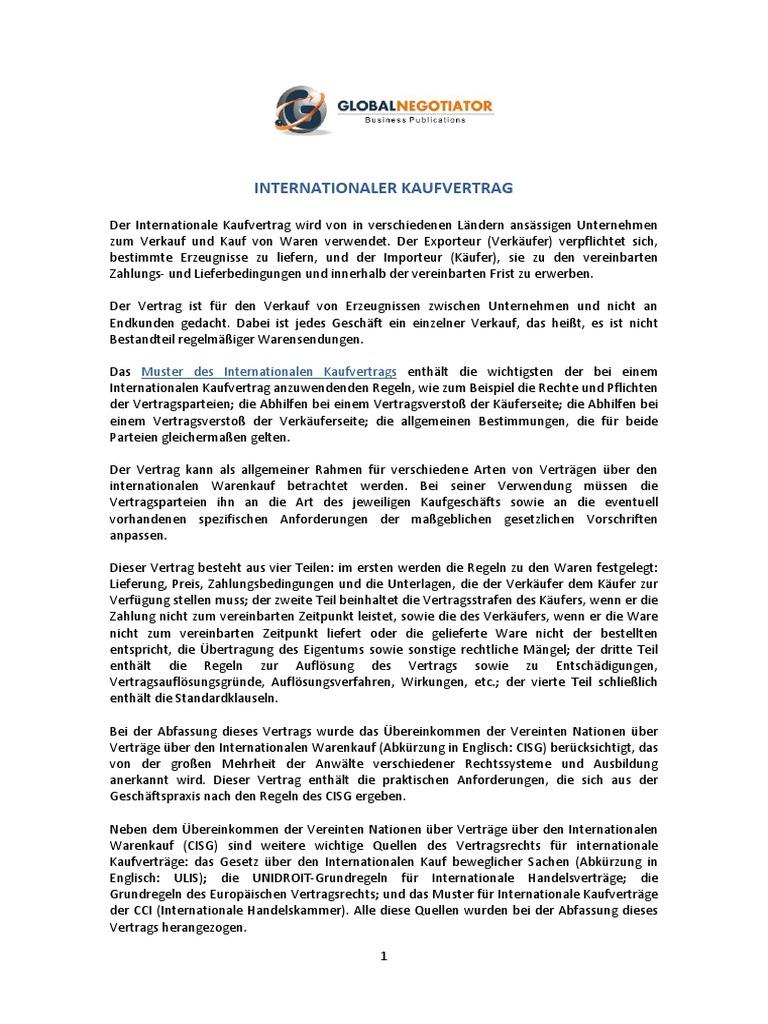 Muster Hufig Verwendeter Internationaler Vertrge Kaufvertrag