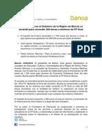 Bankia firma con el Gobierno de la Región de Murcia un acuerdo para conceder 200 becas a alumnos de FP Dual