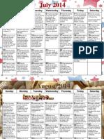 Weaver Prayer Calendar July-September 2014