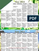Weaver Prayer Calendar May-June 2014