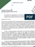 Solicitud de Alcaldía a MinVivienda y Superservicios sobre contrato con Metroagua