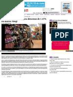 Gasto en Hogares Registra Descenso de 1.47% en Marzo Inegi