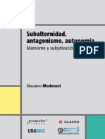 Modonesi. Subalternidad, Antagonismo, Autonomía