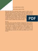 El Discurso Testimonial y Su Análisis Literario en Chile