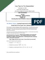 Teaching Tips to Try Newsletter November 22, 2009