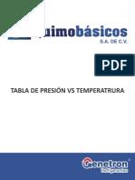 Tabla de Presion vs Temperatura