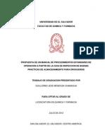 Propuesta de Manual de PEOs a Partir de La Guia de Inspeccion de BPA Para Droguerias