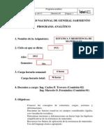 Microsoft Word - 00 Programa Analitico Estatica y Resistencia de Materiales 2011 VMF15082012