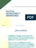 POLITICA.definiciones y Dimensiones Sociologia Politica