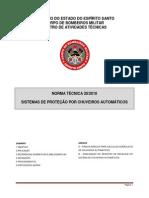 NT 20-2010 - Sistema de Proteção Por Chuveiros Automáticos