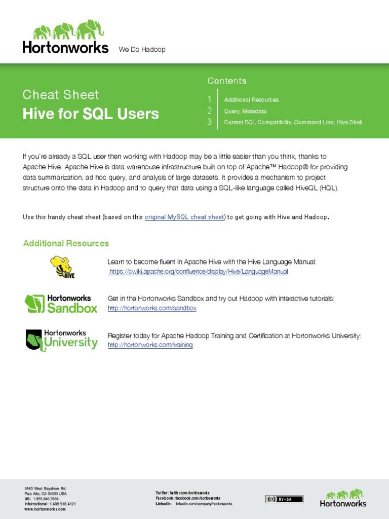 Hortonworkseatsheetsqltohive Data Management Software Data