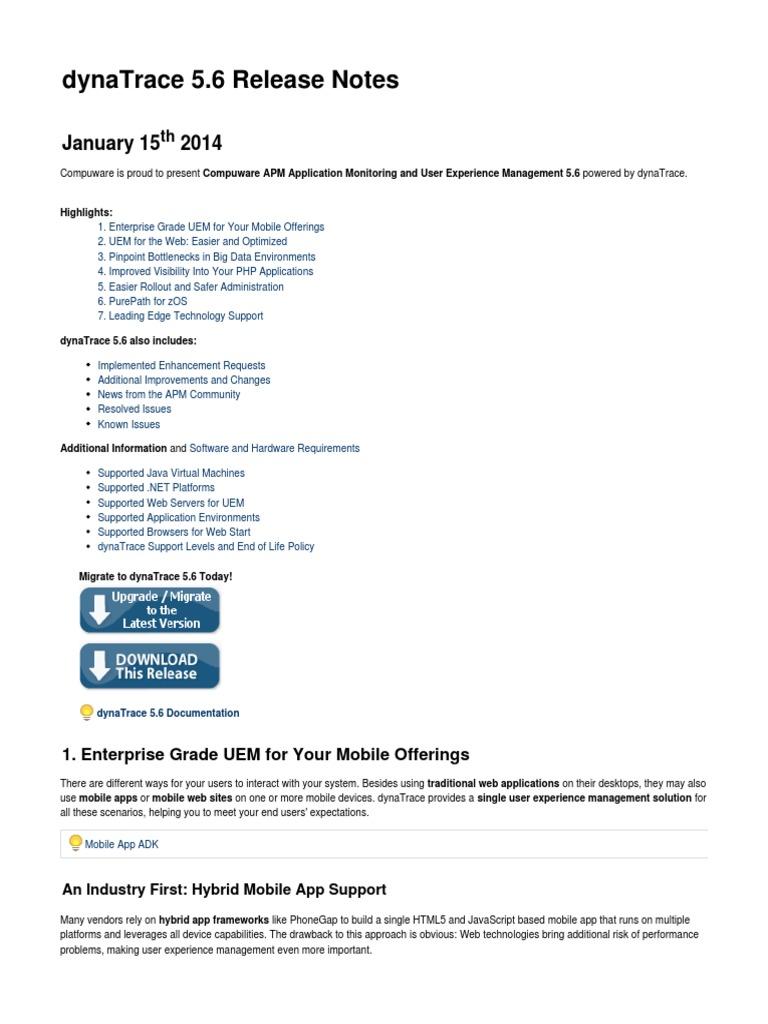 DynaTrace5 6 ReleaseNotes x | Apache Hadoop | Java Virtual Machine