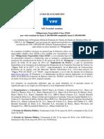 Aviso de Suscripcion YPF Clase XXXI