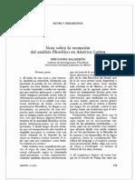 Notas Sobre La Recepcion Del Analisis Filosofico en America Latina (Salmeron)