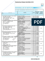 ACPC - GUJCET 2014 Seat Matrix - Gujarat Engineering Colleges Seat Matrix with Fees