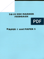 2010 hsc markers feedback