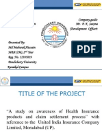 A Study on Awareness of Health Insurance Products and Claim Settlement Process