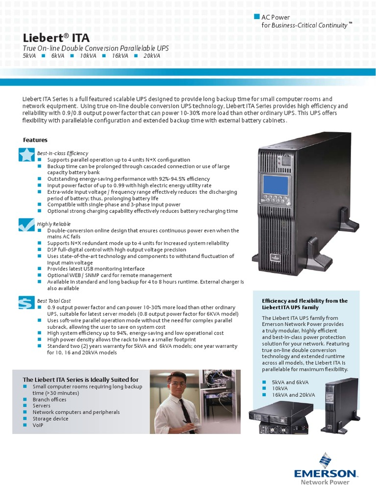 UPS Liebert ITA | Battery Charger | Power (Physics)