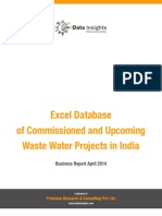 Excel Database of Waste Water Projects in India