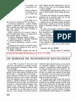 Un Seminar de Monografie Sociologică, 1942