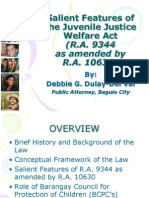 Salient Features of the Juvenile Justice Welfare Act