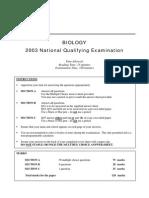 2003 Biology NQE Questions