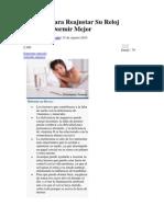 Consejos Para Reajustar Su Reloj Interno y Dormir Mejor