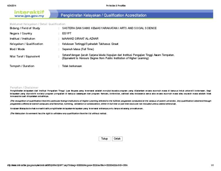 Maklumat Kelayakan Detail Qualification
