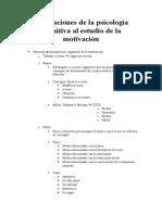 Psicología de la Motivación - Esquema-Resumen - Aportaciones de La Psicología Cognitiva Al Estudio de La Motivación