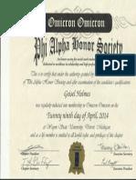 phi alpha certificate