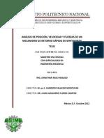 Analisis de Posicion, Velocidad y Fuerzas de Un Mecanismo