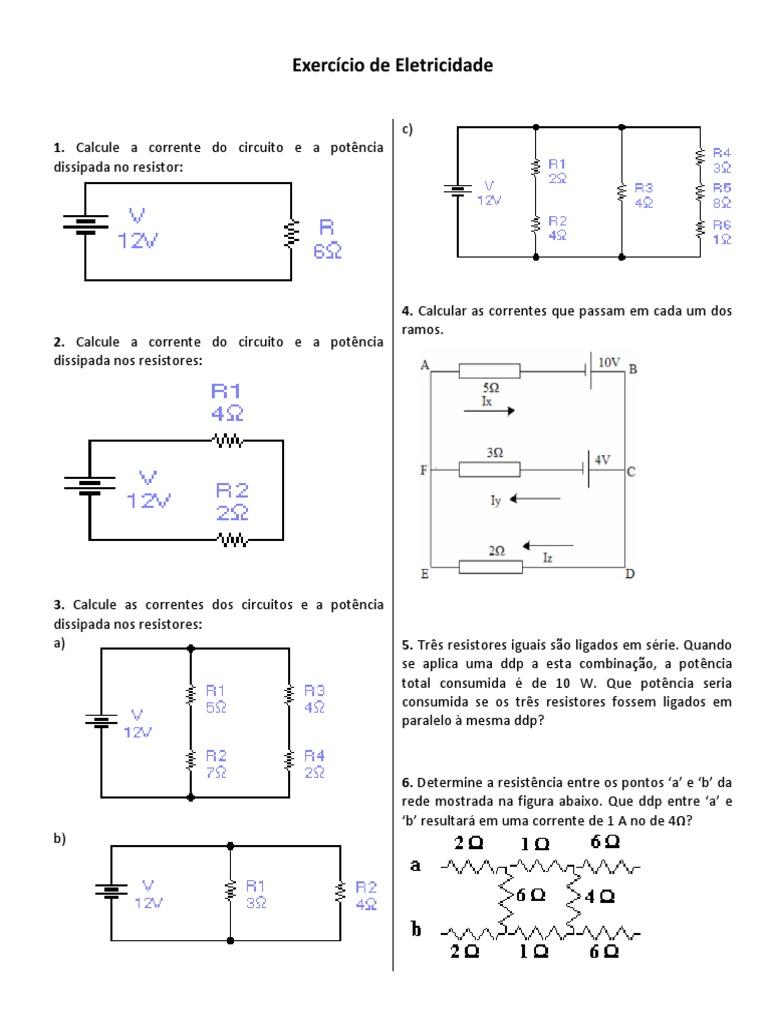 Circuito Rlc Serie Exercicios Resolvidos : Exercícios de letricidade kirchhoff