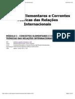 Conceitos Elementares e Correntes Teóricas Das Relações Internacionais