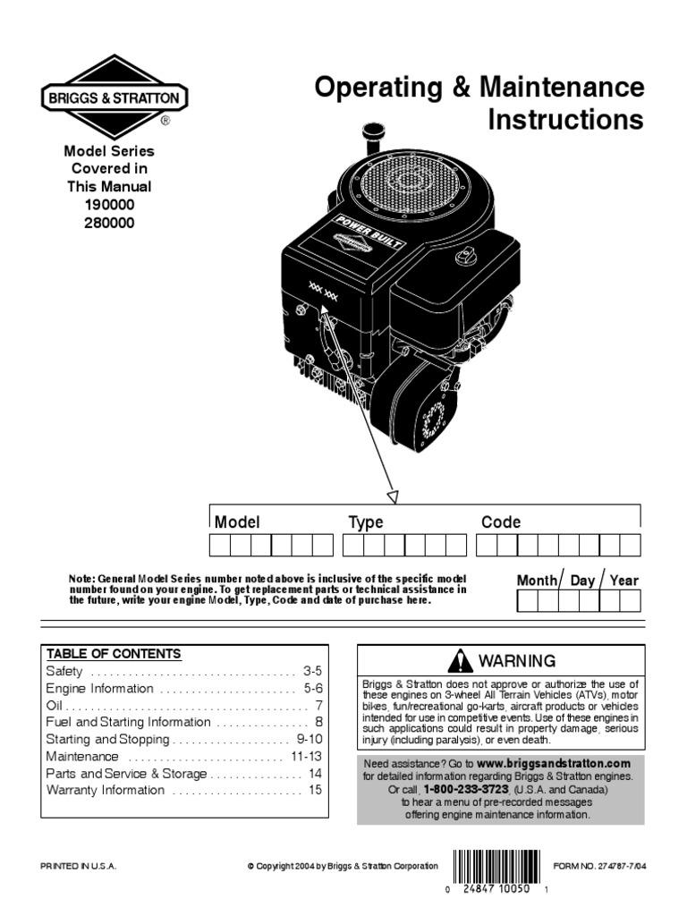Briggs Stratton Model Series 190000 280000 Motor Oil Gasoline 10 0 Wiring Diagram